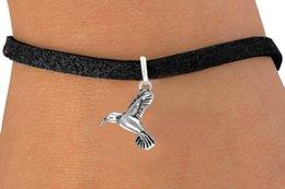 Wholesale Bird Belt - 30pcs lot Fashion Flying Bird Charms Awareness Bracelets Leather Rope Black Cord Bangles DIY Jewelry Belt Charm