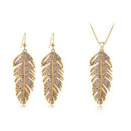 Wholesale Korean Fashion For Boys - Wings of love Necklace Earrings Sets South Korean Bohemia fashion women Jewelry Sets leaves Jewelry For Women 4138