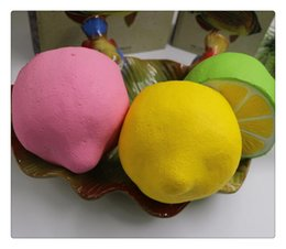 Wholesale Lemon Package - Wholesale DHL squishies rare squishy jumpo kawaii fruit lemon slow rising with package scented squeeze toy kids gift Free Shipping