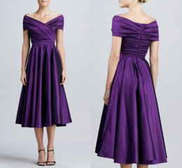 Wholesale Red Carpet Wedding Dresses - Tea Length Purple Satin Mother off Bride Dresses 2015 Cheap New Ruched Off Shoulder Mother's Formal Evening Gowns Dresses For Wedding Custo