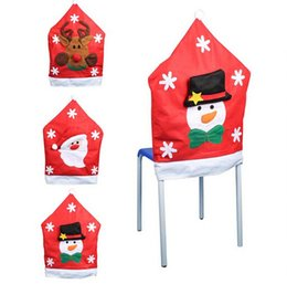 Wholesale High Chair Cover Patterns - Christmas Snowman Santa deer pattern Chair cover christmas decoration party supplies Dining table decoration large hat