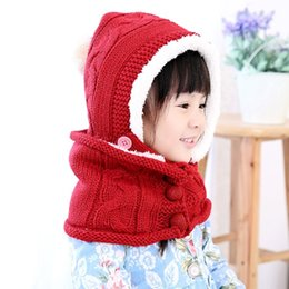 Wholesale Wholesale Scarf Sets - Wholesale-2015 winter new candy-color plus fleece Hat+scarf Two Piece Set (4 colors)boy and girl's fashion 2 pcs set hat,free shipping