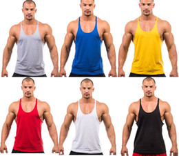 Wholesale Red Tank Tops Xl - 2017 Summer Stly Men Blank Stringer Y Back 100% Cotton Tank Top Gym Bodybuilding Clothings Fitness Shirt Sports Vests Muscle Tops