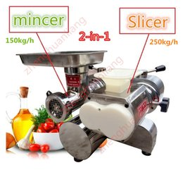 Wholesale Meat Slice Machine - Wholesale - free shipping 850W 110v 220v Meat cutting machine, 2-in-1 meat cutter for slicing, mincing, grinding, shredding BT200