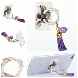 Wholesale Nice Mobile Phones - Cute Cartoon Nice Tassel Pendant Universal Finger Metal Ring 3M Stand holder For Iphone For Ipad For Samsung Pad Tablets Mobile Phone 100pcs