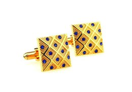 Wholesale Mens Square Studs - Luxury Square Blue Crystal Cuff Links Mens Shirt Studs Personalized Cufflinks cf151889