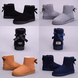 Wholesale Girls Shorts Heels - 2017 WGG boots Women Australia Classic kneel Ankle Boot Black Grey chestnut Dark blue girl lady tall short Winter Snow shoes Eur 36-41