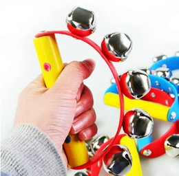 Wholesale Toy Wooden Tambourine - 1PCS Random Color Girl Boy Baby Wooden Handle Rattle Jingle Bell Tambourine Ring Shake Kid Hot Toy