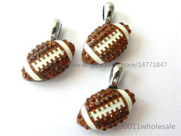 Wholesale Key Chain Football - 10pcs DIY Rhinestone American football Hang pendant charms 15x15mm Fit DIY Necklace  Key chain s Phone strip DIY Bracelet HC359