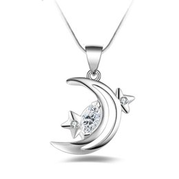 Wholesale Diamond Star Pendant Necklace - Free shipping fashion high quality 925 silver Moon and stars With diamond 925 silver necklace Valentine's Day holiday gifts hot 1652