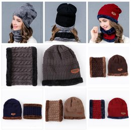Wholesale Thick Knit Scarf Sets - UNISEX Warm Cap Thick Winter Hat Fashion Skullies Beanies Wool Hat Cap Beanie Knitted Caps Neck Warmer Warm Hat YYA759