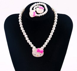 Wholesale Candy Color Bead Necklaces - NEW Kids Children Candy color Kitty cat beads Bracelet Necklace performance necklace Bracelet Jewelry Set Best Christmas gift HH61