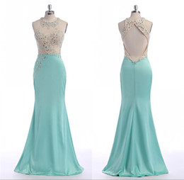 Wholesale Cheap Petite Clothing - Hunter Long Turquoise Evening Dresses Mermaid Luxury Beading Made To Order Satin Backless Big Ass Sexy Robe De Soiree Cheap Clothes China