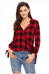 Wholesale Womens Plaid Shirt Xxl - Womens Long Sleeve Plaid Casual T-shirt Club Party Tops Vestidos Size: S M L XL XXL DLM250454
