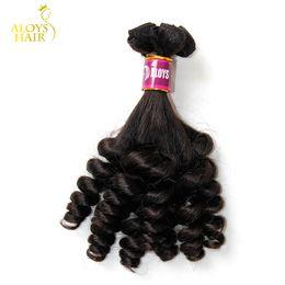 Cheveux funèbres vierges 8a en Ligne-3 PCS Lot Grade 8A Tante Funmi Cheveux Non Transformés Vierge Indien de Cheveux Humains Weave Bundles Bouncy Printemps Oeuf Curls Extensions de Cheveux Pour ROYAUME-UNI / Nigeria