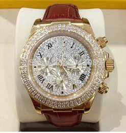 Wholesale Watche Automatic Luxury - Factory Supplier lUXURY WATCH NEW 18k Rose Gold Pave Diamond Dial 116509 Automatic Mens Watch Leather Strap Men's Sport Wrist Watche
