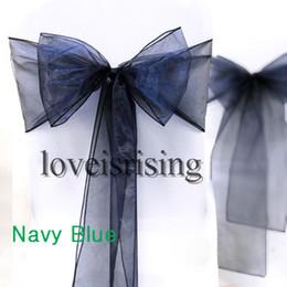 "Wholesale Navy Blue Wedding Decor - High Quality--50pcs Navy Blue Color 8"" (20cm) W x 108"" (275cm) L Organza Chair Sashes Wedding Party Banquet Decor+Free Shipping"