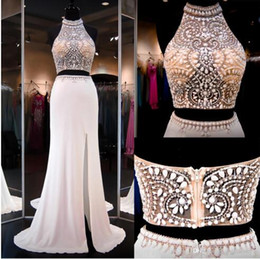 Wholesale Yellow Halter Neck Top - Ivory Two Pieces Dresss Prom Gowns High Beaded Neck Halter Open Back Slit Illusion Crop Top Mermaid Prom Dresses Party Gowns