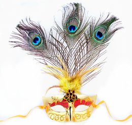 mardi gras party masquerade dress Promo Codes - Wholesale-Peacock Feather Masks Masquerade Ball Venetian Mardi Gras Fancy Dress Party Mask