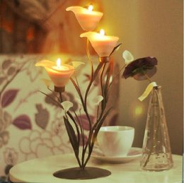 Wholesale Calla Wedding Candles - Romantic Wedding Candle Holder Calla Lily flower Tea Candles Holder For Wedding Christmas Party table Decorations supplies