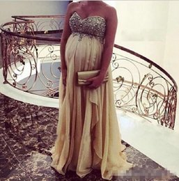 Wholesale Lace Up Dresses For Pregnant - 2018 Shinning Sweetheart Prom Dresses For pregnant woman Sequins Beads A Line Chiffon Plus Size Evening Dress Zipper Back Formal Party Gowns
