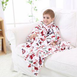 Wholesale Santa Claus Bedding - Baby Boys Girls Winter Warm Blanket Santa Claus Snowman Printing Robe Cloak With Sleeves Kids Children Sleep Bedding Blankets Gift