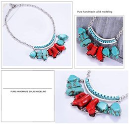 Wholesale Turquoise Women Suits - Hot Choker Necklace Women Flowers Elegant Noble Irregular Turquoise And Green Retro Major Suit Necklace Sweater Chain