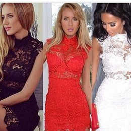 Wholesale Red Mini Cocktail Dresses - Women Sexy Sleeveless Plus Size Red Black White High Collar Crochet Lace Bodycon Vintage Mini Dress Perspective Party Cocktail Dress