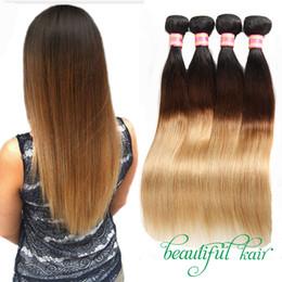 Wholesale 1b 27 Hair - Blonde Brazilian Virgin Straight Hair Bundles Ombre Human Hair Extensions 1B 27 1B 30 1B 99J 1B 4 27 Hair Products