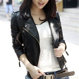 Wholesale Ladies Leather Hooded Jackets - Wholesale- Women Fashion Coat Spring Autumn Faux Leather Jacket Short Paragraph Slim Fit Coat Outwear Cool Jacket for Girls Ladies
