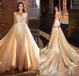 Wholesale Gold Embroidered Skirt - Crystal Design 2017 Bridal Capped Sleeve Jewel Neck Heavily Embroidered Bodice Detachable Skirt Sheath Wedding Dresses Low Back Long Train