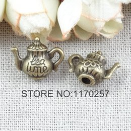 Wholesale Teapot Charm Bead - 50 PCS   LOT A1704 wholesale Retro Teapot Tea Kettle Jewelry Findings