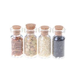 Wholesale Miniature Glass Bottles Wholesale - Wholesale- 1 12 4pcs lot Dollhouse accessories Kitchen accessories mini Furniture Miniature Dry glass bottle grainRandom