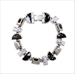 Pietra preziosa bianca nera online-bracciale in pietra semipreziosa nera con pietra sintetica bianca e bracciale bianco