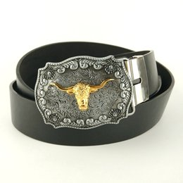 Wholesale Men Belt Buckles Western - Wholesale-Men fashion belts 2015 faux leather belt 130cm with metal western belt buckle Golden bull head cinto cowboy mens casual belt