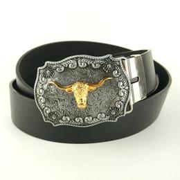 Wholesale Western Belt Wholesalers - Wholesale-Men fashion belts 2015 faux leather belt 130cm with metal western belt buckle Golden bull head cinto cowboy mens casual belt