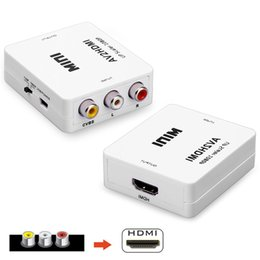 Wholesale Video Vcr - AV CVBS Composite to HDMI Output HD 1080p Video Converter Adapter Plug and Play with USB Cable for HDTV VCR DVD PS3 Monitors Displayers