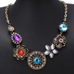 Wholesale Retro Style Bib Necklace - 2016 wholesale New Retro Style Gorgeous Austria Vintage Turquoise exquisite Crystal Flowers Bib Statement Necklace KM026