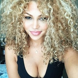 Wholesale Synthetic Afro Wigs - AISI HAIR Long Kinky Curly Wigs Synthetic Afro Curly Wigs Mixed Blonde Wigs for Black Women Party Wig