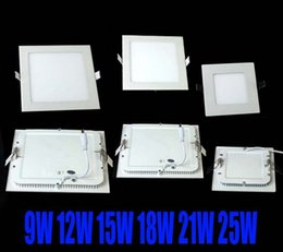 Wholesale Downlight Square 12w - dhl FREE SHIPPING High powerLed Panel Light SMD 2835 9W 12W 15W 18W 21W 25W 2200LM 110-240V Led Ceiling Bulb LED lamp spotlight downlight