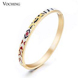 Wholesale Wholesale Enamel Bangle Bracelets - Wholesale 10pcs lot Luxury Multicolor Enamel Bracelet 18k Gold Plated Cuff Style Jewelry (VG-247*10) Vocheng Jewelry