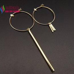 Wholesale Mix Match Earrings - Wholesale- 2016 Sticks Earrings Fashion Punk Metal Jewelry Mix-matched Gold Silver Sticks Big Open Circle Hoop Earring for Women