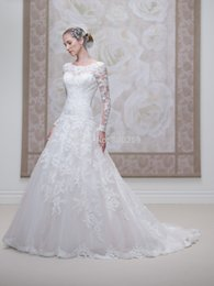 Wholesale Dropped Waist Sweetheart Neckline - 2015 HOT Cheap New Fashion Scoop Neckline Lace Applique with Beading A-line Tulle Fabric Dropped Waist Wedding Dresses