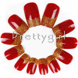 Wholesale Acrylic Red Nail Tips - Wholesale-2713 French False Nail China Red Nail tips Fake Acrylic Nail Art DIY Nail Tools Decal