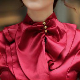Canada Gros-4 Couleur Chemisier en soie Puls Taille Satin Blouse femmes Mode Femmes Bureau Chemisier À Manches Longues Chemise Femmes Travail Porter Chemise Sheer Femmes cheap silk office shirts Offre