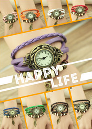 Wholesale Birthday Girl Pin - Womens Leather Leaf Wristwatches Ladies Girls Fashion Tree Leaves Bracelet Watch Quartz Watches Christmas Birthday Gift
