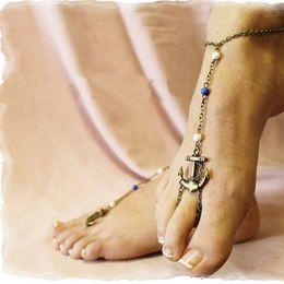 Bracelets de cheville sexy en Ligne-Femmes sexy bronze charme cheville cheville toe anneau sandale chaîne plage bijoux