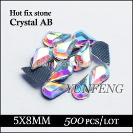 Wholesale Used Shoes For Sale - Wholesale-Hot sale Water drop stones 5X8mm Crystal AB strass 500pcs lot Hotfix rhinestones use for garments shoes bags