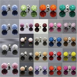 Wholesale Sterling Silver Ball Studs - Fashion 925 Sterling Silver 8mm CZ Crystal disco ball shamballa Stud Earrings Swarovski