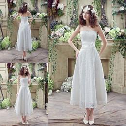 Wholesale Plus Size Thigh Stockings - Romantic Lace Short Wedding Dresses Tea Length A Line In Stock! Hand Made Flowers Beaded Vestidos de Novia 2016 Summer Beach Bridal Gowns